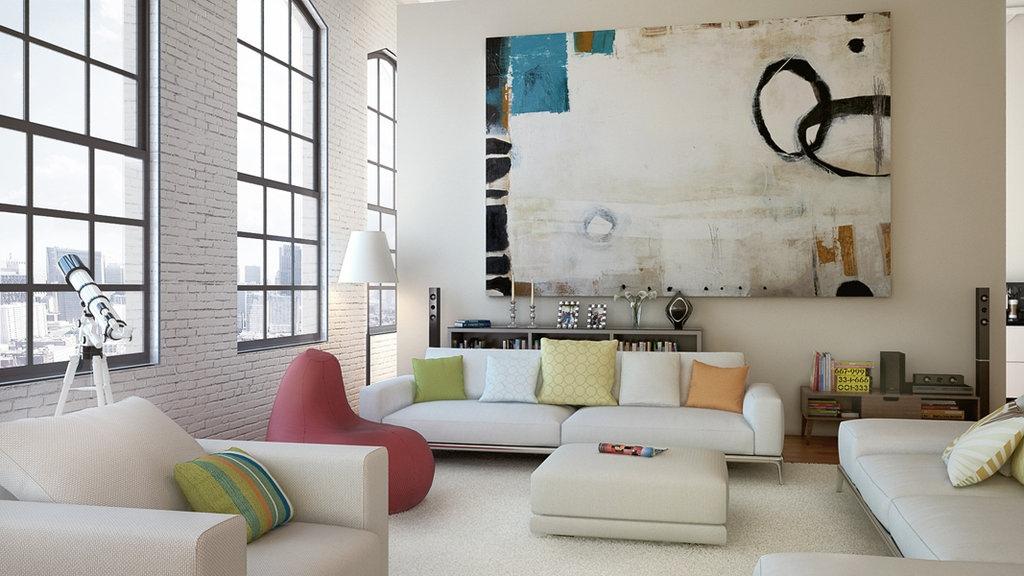Uma sala leve e colorida